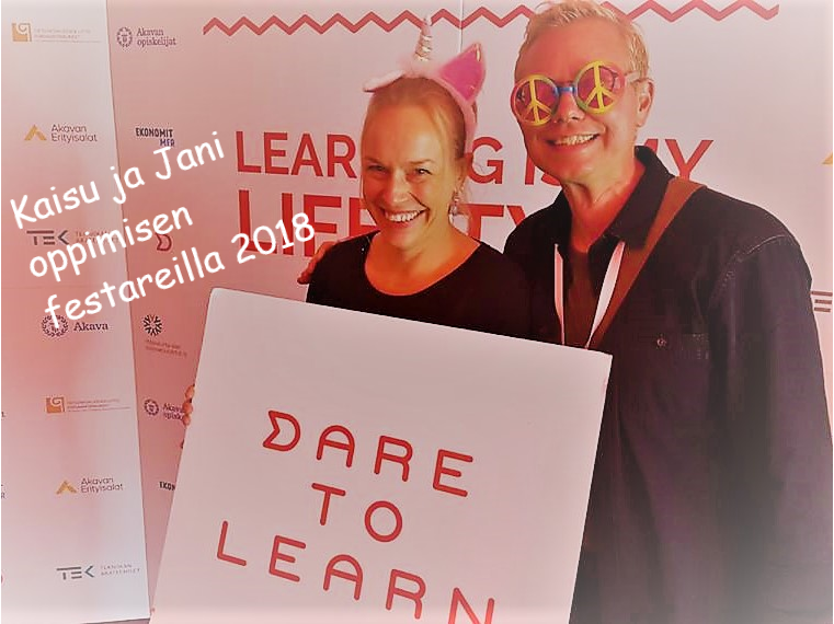 Our founders Kaisu and Jani at the Dare to Learn event in 2018