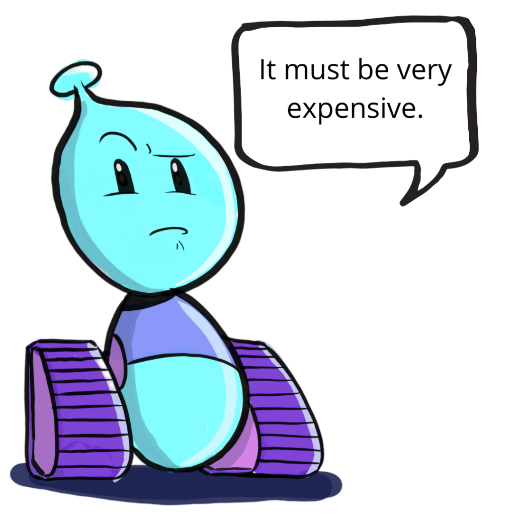Photo of Bobo the Robot who thinks it must be very expensive.