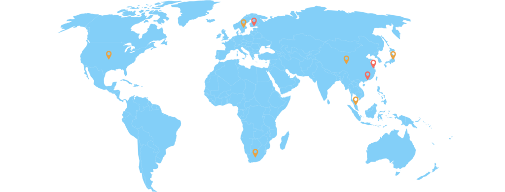 World map showing the Code School Finland countries of operations.