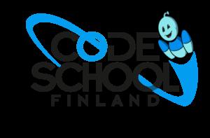 Code School Finland logo with Bobo the Robot flying thru it.